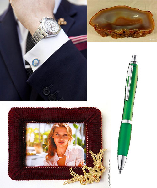 Необычные запоник, фоторамка, агатовая пепельница, стильная ручка