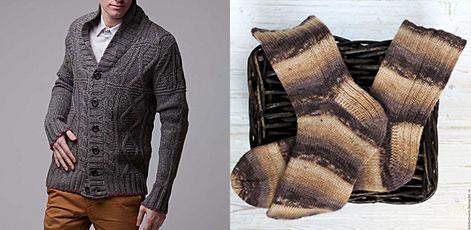 Вязанные свитер и носки мужские