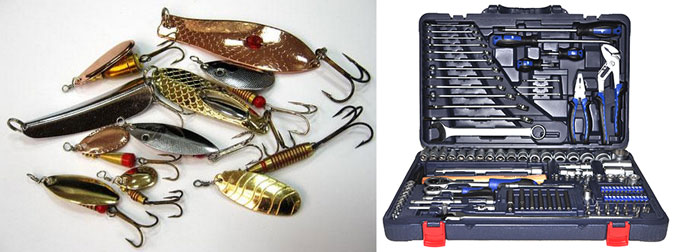 Рыыбацкие блесна и анбор инструментов