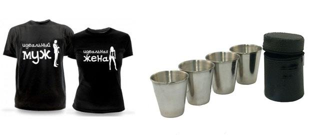 Парные футболки и металлические стопочки