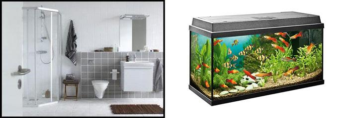 Сантехника для ванны и аквариум с рыбками