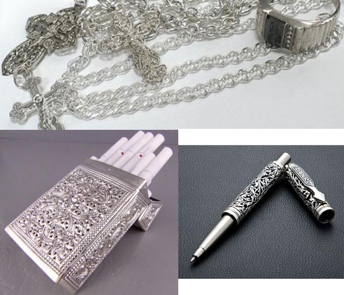 Серебрянные портсигра, ручка, цепочки и кольца
