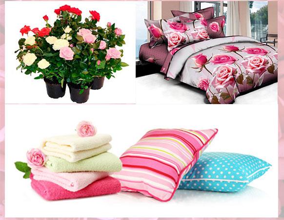 Набор постельного белья итекстиля с розовыми тонами, и комнатные розы