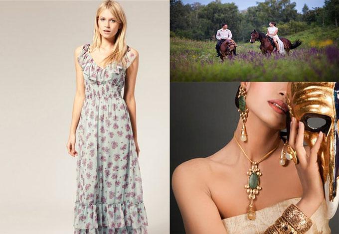 Ситцевый сарафн, конная прогулка и украшения женские