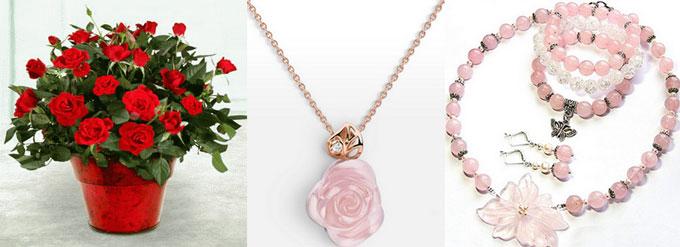 Комнатные розы и украшеняи с розовым камнем