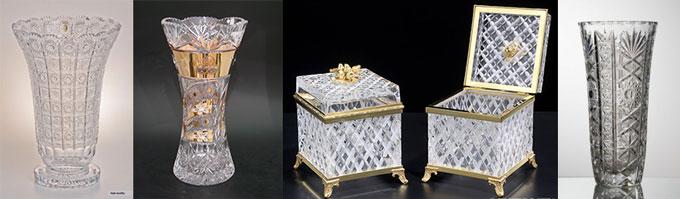 Хрустальные вазы и шкатулки