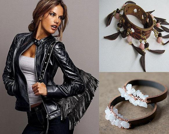 Женские кожанные: куртка сумка и украшения