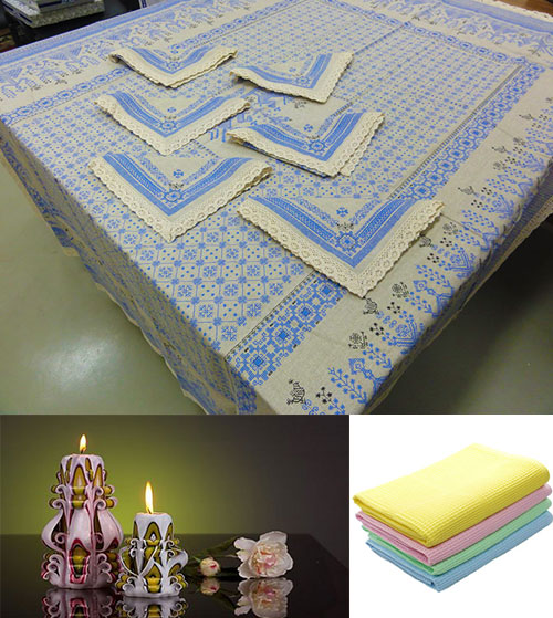 Набор льняного столового белья, фигурные свечи и полотенца