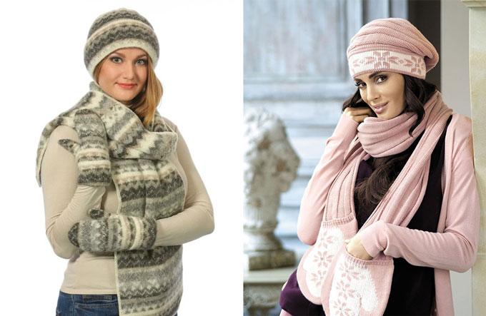 Женские шерстяные шапочка, варежки, шарфик