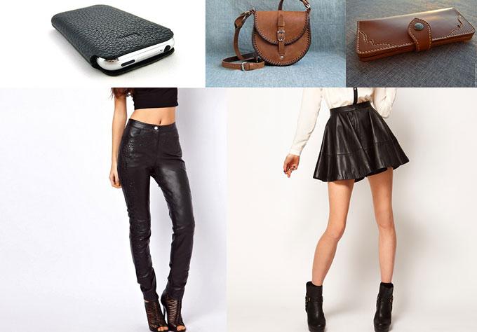 Кожанные брюки, юбка, чехол для телефона, сумочка и кошелек