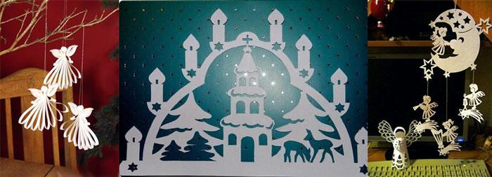 Бумажные фигурки на Рождество