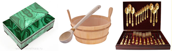 Малахитовая шкатулка, ковши для бани и набор столовых предметов