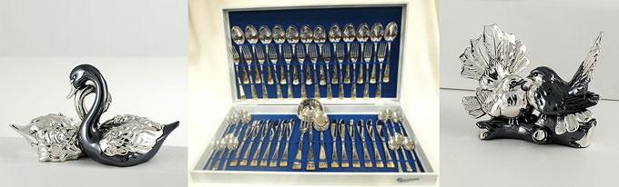 Статуэтки серебрянные и набор серебряных столовых приборов