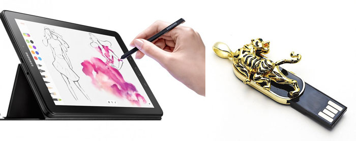 Планшет для рисования и флешка украшение