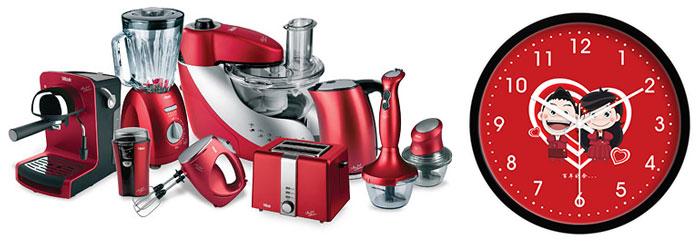 Красные часы и кухонная техника