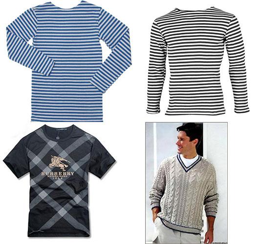 Тельняшки, вязаный свитер и футболка мужчине