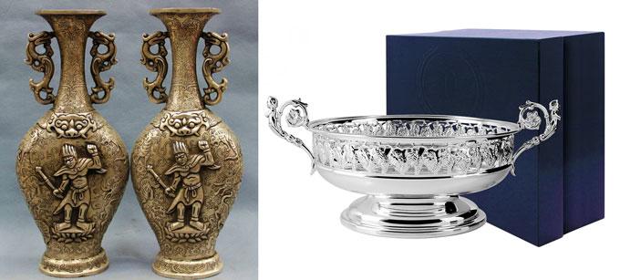 Серебрянные: чаша и вазы