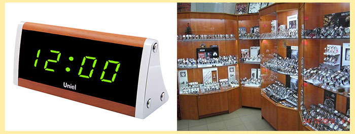 Электронные часы и магазин часов