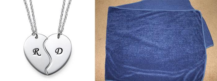 Кулоны с граворовкой и пушистое полотенце