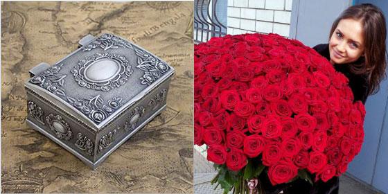 Большой букет роз и оловянная шкатулка