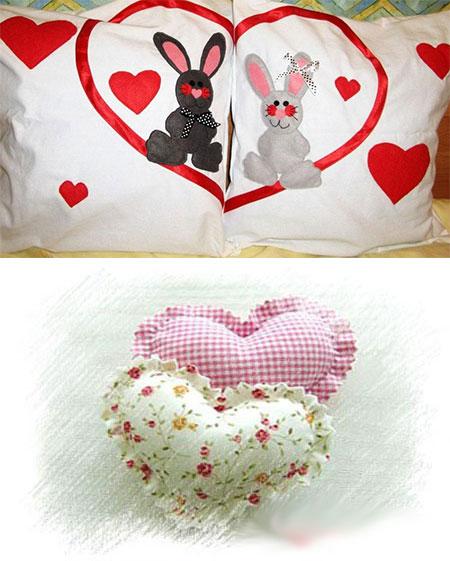 Подушки сердечки и ситцевые подушки с рисунком