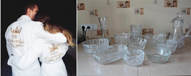 Парные халаты и хрустальная посуда и вазы
