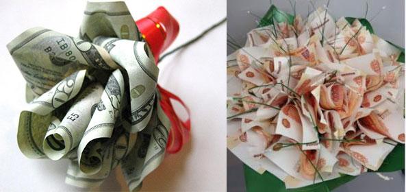 Цветы и букет из денег