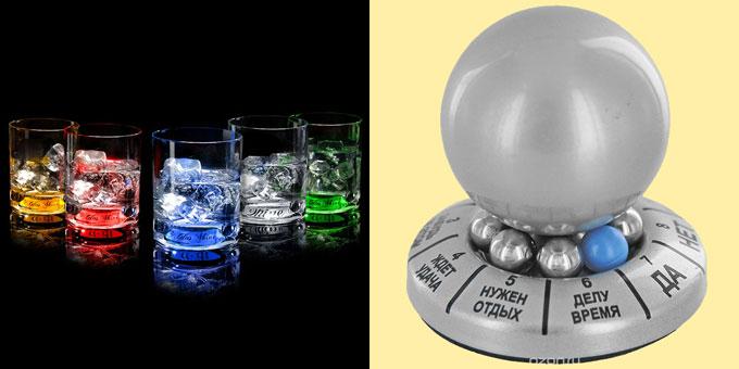 Светящиеся бокаля для виски и шар для принятий решений