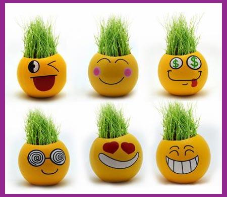 Горшочки смайлики для выращивания зелени