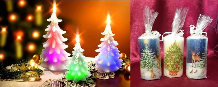 Разноцветные рождественские свечи