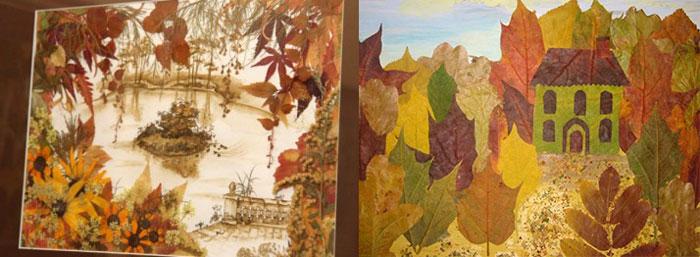 Варианты рисунков из листьев
