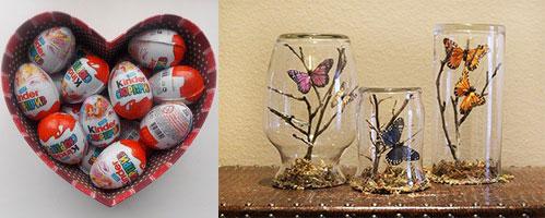 Сердце с киндер сюрпризами и вазы с бабочками