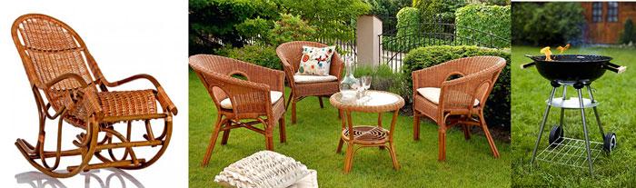 Садовая мебель, мангал и кресло-качалка