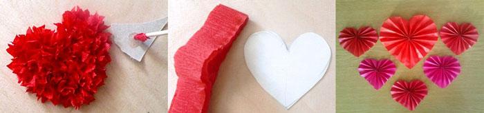 Валентинки из гофрированной бумаги