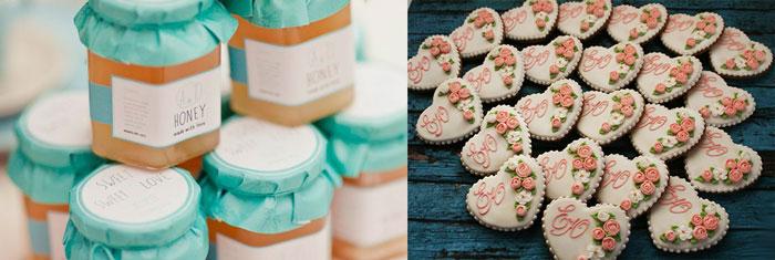 Мед и печеньки со свадебной подписью