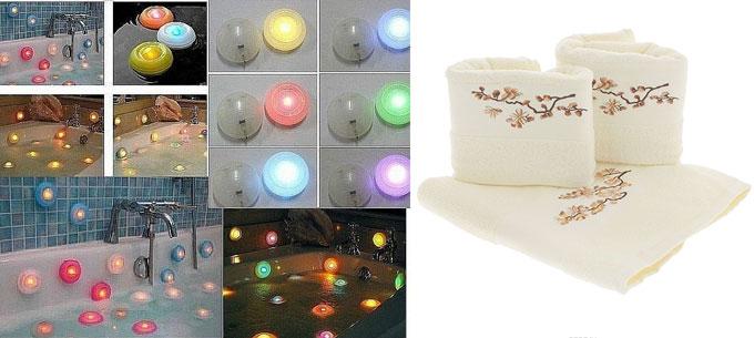 Водостойкие светильники и набор полотенец