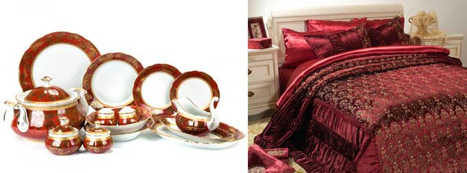 Сервиз и постельное белье в рубиновых тонах