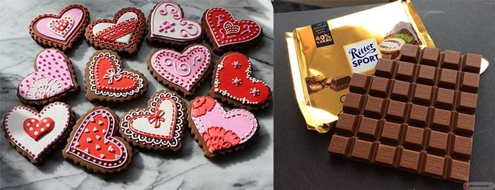 Шоколадные валенинки и шоколад дружбы