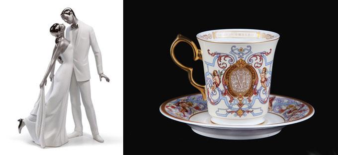 Фарфоровая чашка и статуэтка молодожен