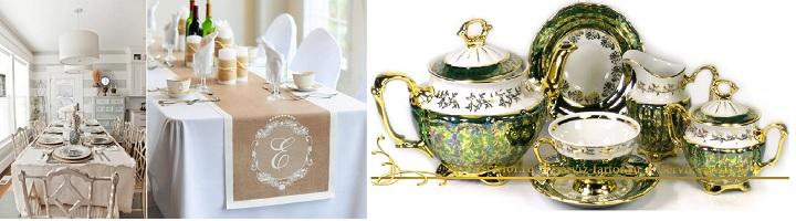Скатерть бежевых тонов и зеленый чайный сервиз