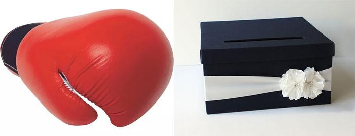 Черный ящик и перчатка боксера на свадьбу