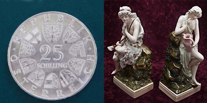 Колекционная серебрянная монетка 25 шилингов, и парная статуэтка