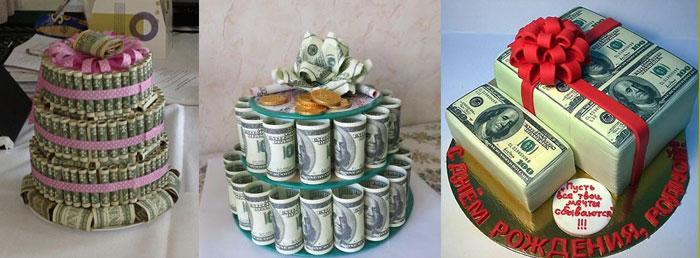 Виды тортов из денег