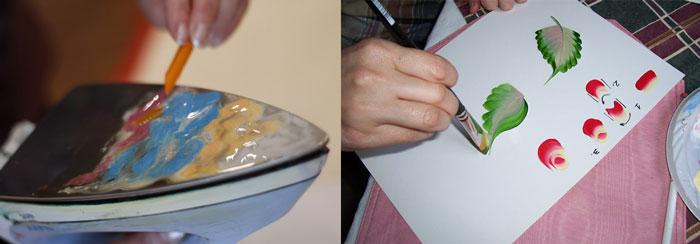 Рисование красками и восковыми мелками
