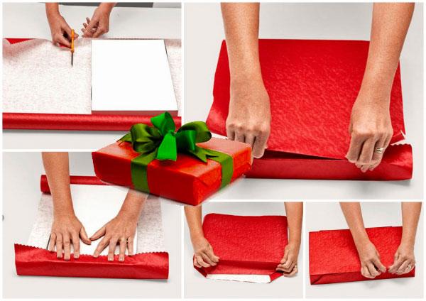 Шаги упаковки подарка в бумагу