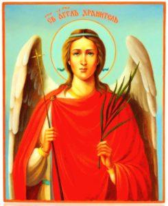 образ ангела в красной рясе