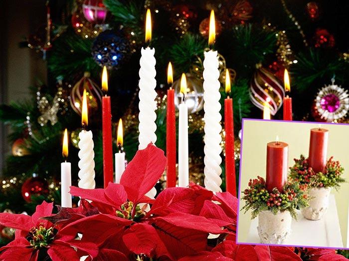 Красные и белые свечи на Рождество