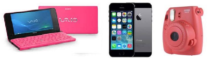 Розовый ноутбук, фотик и смарт
