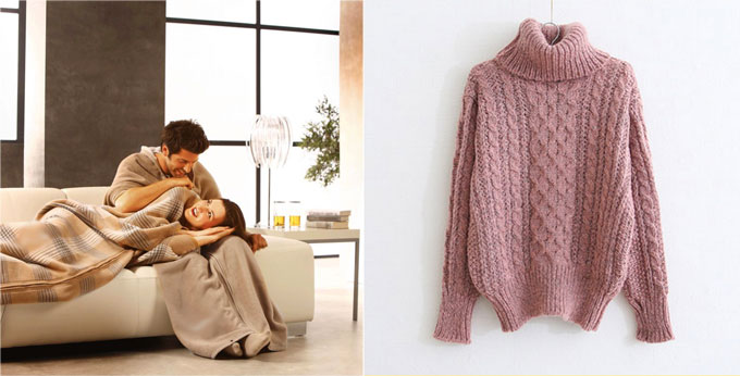 Теплый плед и женский свитер