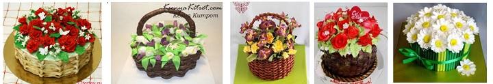 Торты в виде корзины с цветами